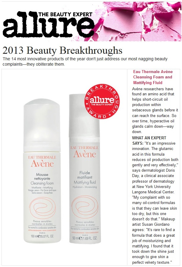 Avene Mattifying Fluid Featured in Allure Magazine - Beauty Breakthrough