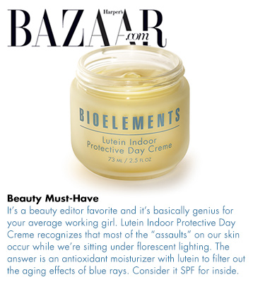Bioelements Lutein Indoor Protective Day Creme Featured in Harper's Bazaar