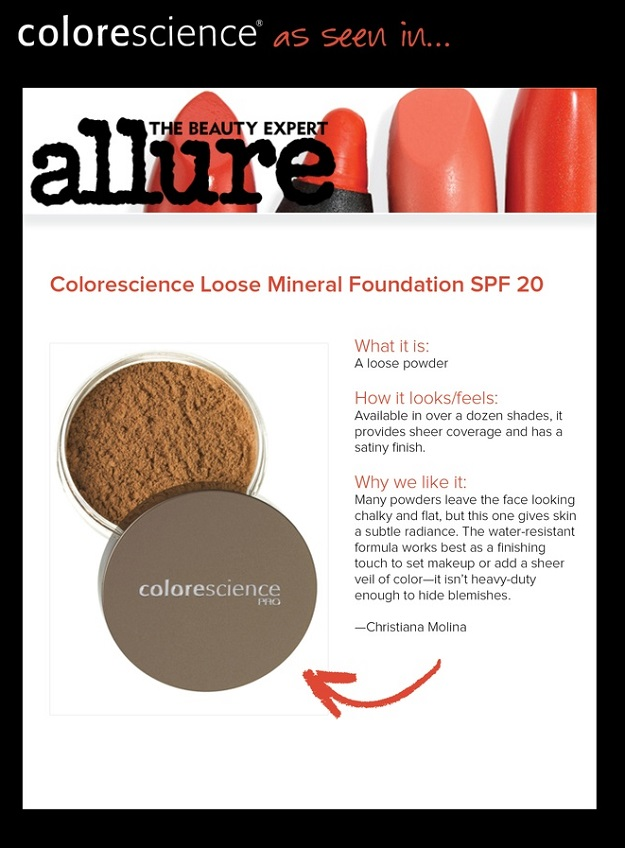 Colorescience Pro Loose Mineral Foundation Jar SPF 20 Featured in Allure Magazine