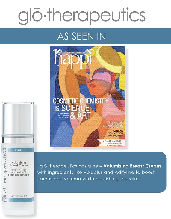 glotherapeutics Volumizing Breast Cream Featured in Happi Magazine