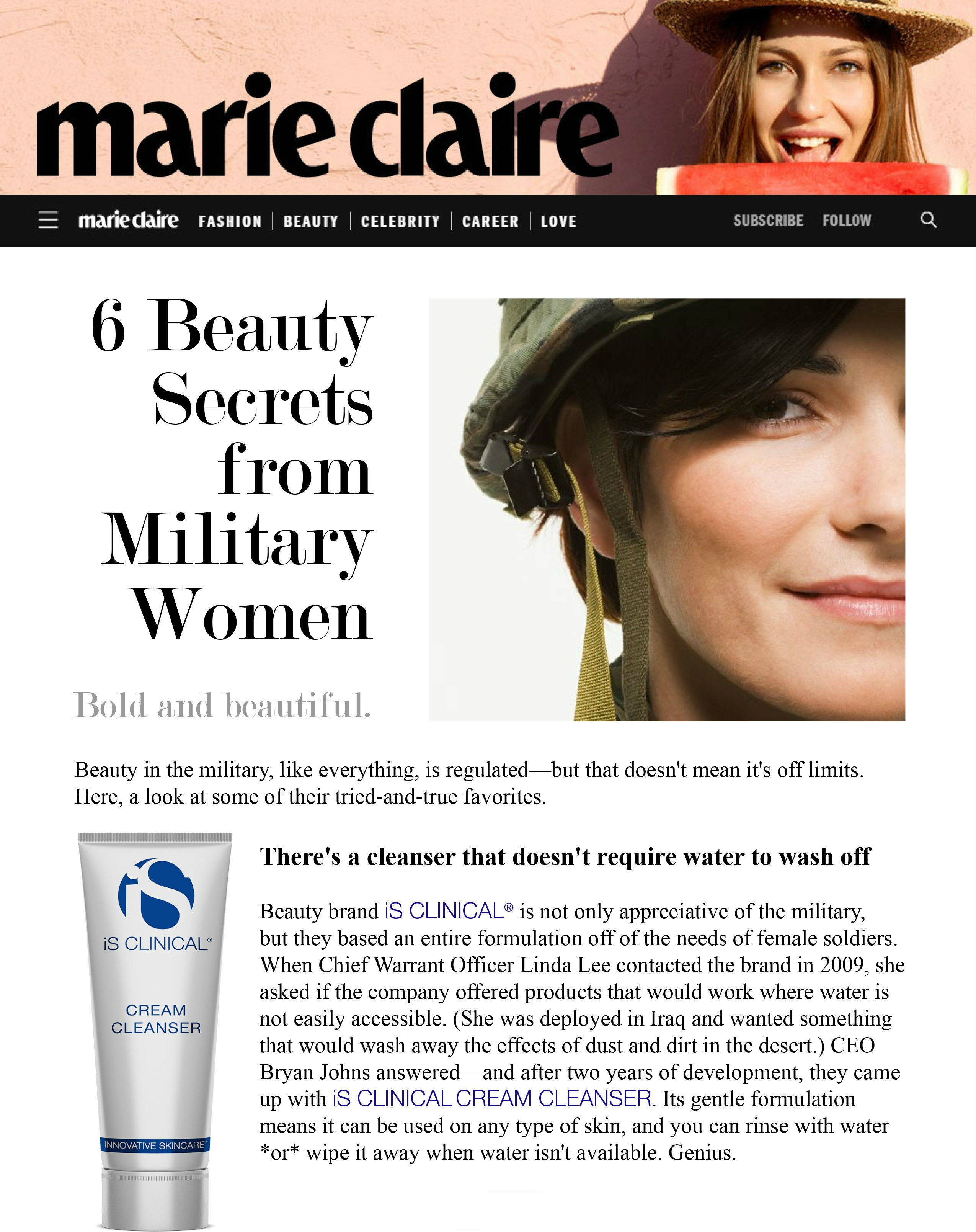 iS Clinical Cream Cleanser Featured in Marie Claire